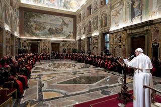 Pope Francis speaks during the traditional greetings to the Roman Curia in the Sala Clementina (Clementine Hall) of the Apostolic Palace, at the Vatican