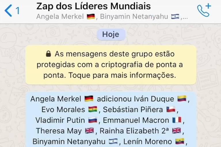 Os acontecimentos da política mundial em 2019 reunidos em um grupo de WhatsApp
