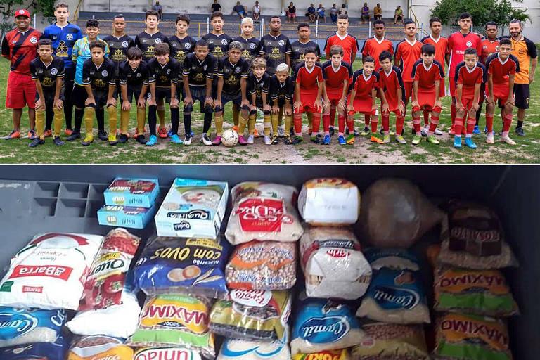 Amigos do Ongarelli (preto) 5 x 4 Amigos do Mayke (vermelho) e mais de 300 quilos de alimentos arrecadados