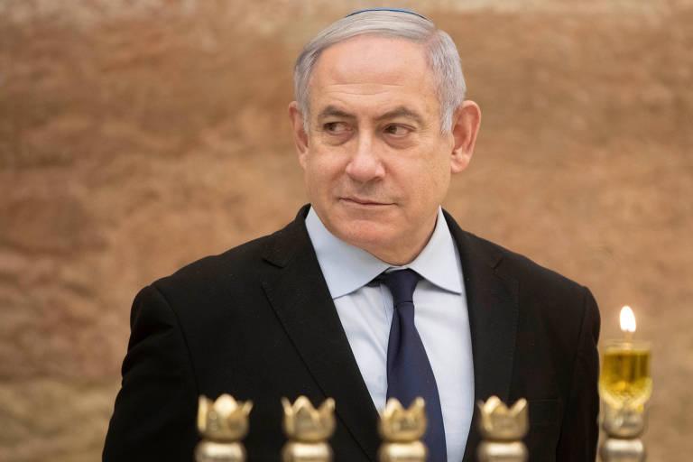 O primeiro-ministro Binyamin Netanyahu no Muro das Lamentações, em Jerusalém