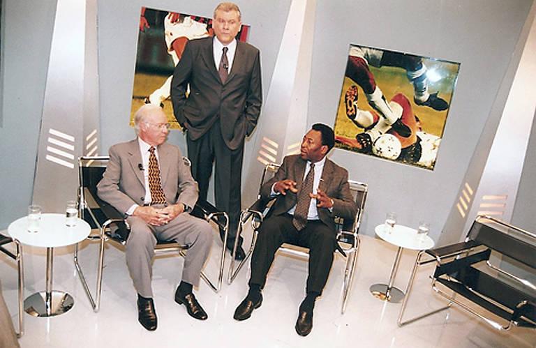 Milton Neves recebe Pelé e Zagallo, na época técnico da Portuguesa