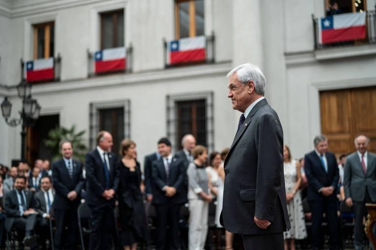 O presidente do Chile, Sebastián Piñera, durante cerimônia no palácio de La Moneda, em Santiago