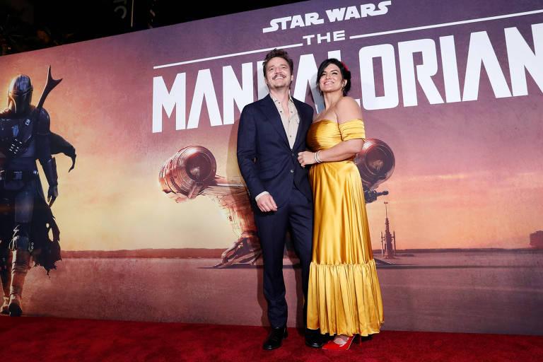 Pedro Pascal e Gina Carano na pré-estreia de 'The Mandalorian'