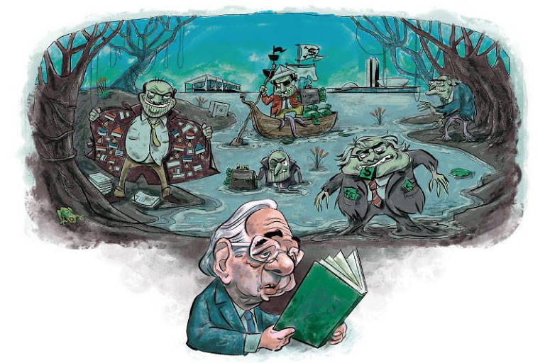 Ilustração de Paulo Guedes lendo um livro; atrás do ministros, estão representados 'monstros do pântano' em um uma floresta escura