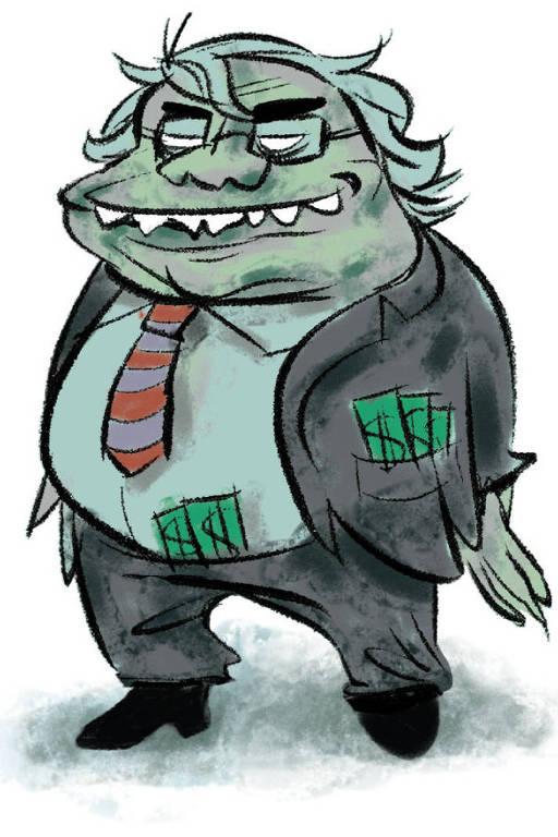 Ilustração de um um senhor verde com terno puído e maços de dinheiro na calça e no bolso do casaco
