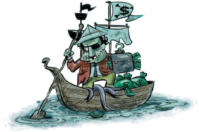 Ilustração de um barco cheio de dinheiro, com um pirata com uma chapéu de papel; do barco, saem tentáculos de um monstro marinho