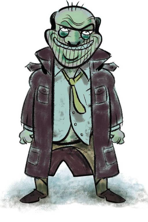 Ilustração de um senhor verde e calvo com cara de mal; o personagem tem olhar sacana
