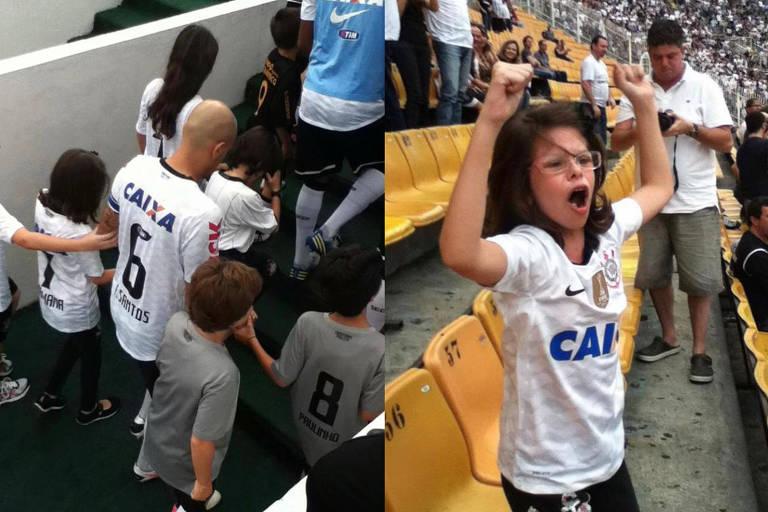 Mariana entra em campo segurando a mão do lateral Fábio Santos e depois comemorando na arquibancada: o dia que não sai da memória dela