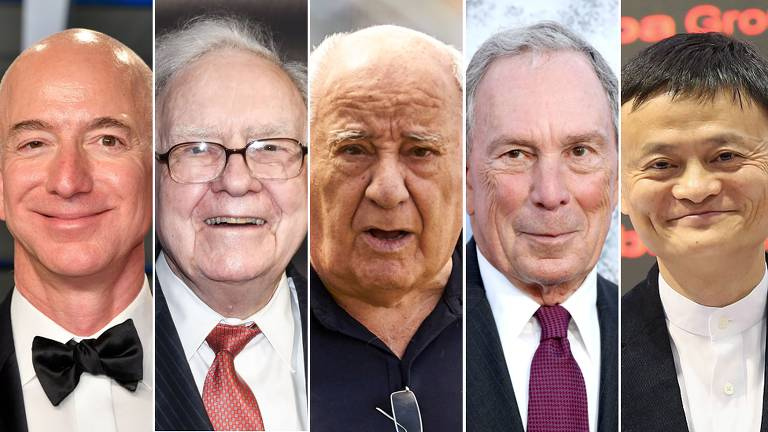 Jeff Bezos, Warren Buffet, Amancio Ortega, Michael Bloomberg, Jack Ma