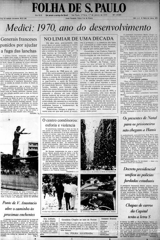Primeira página da Folha de S.Paulo de 1º de janeiro de 1970