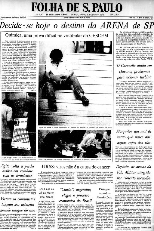 Primeira página da Folha de S.Paulo de 5 de janeiro de 1970
