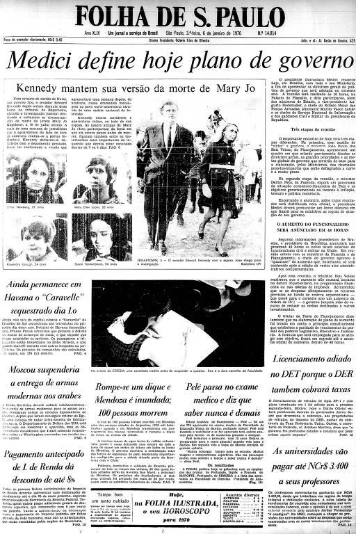 Primeira página da Folha de S.Paulo de 6 de janeiro de 1970