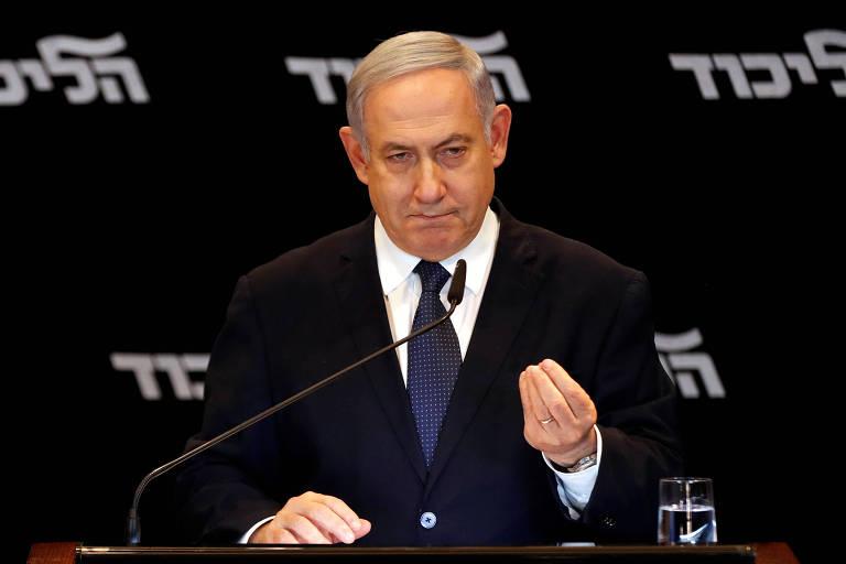 O primeiro-ministro israelense, Binyamin Netanyahu, durante o discurso no qual anunciou sua intenção de pedir a imunidade ao Parlamento