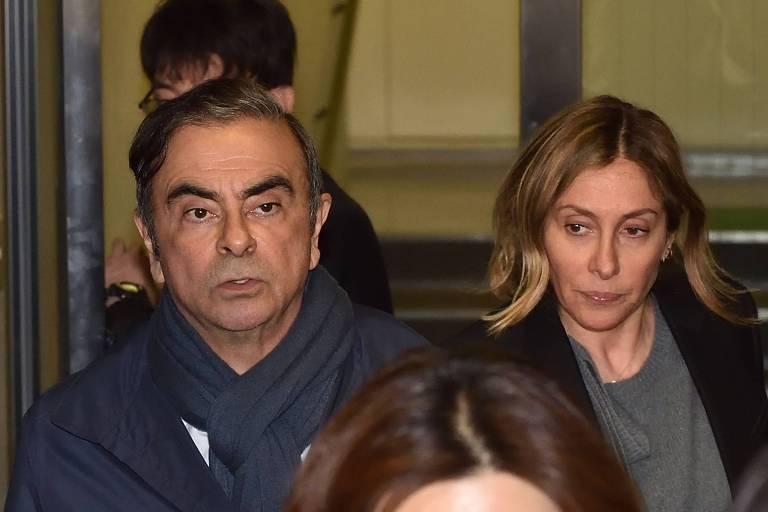 Ex-presidente da Nissan, Carlos Ghosn, e sua mulher, Carole Ghosn