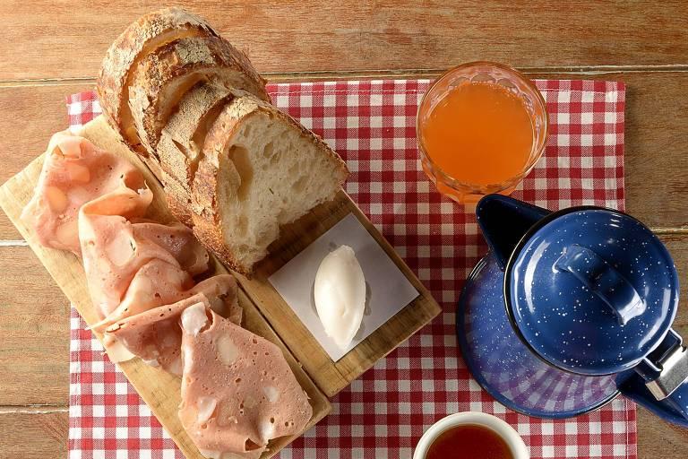 Café da manhã do menu-degustação d'A Casa do Porco