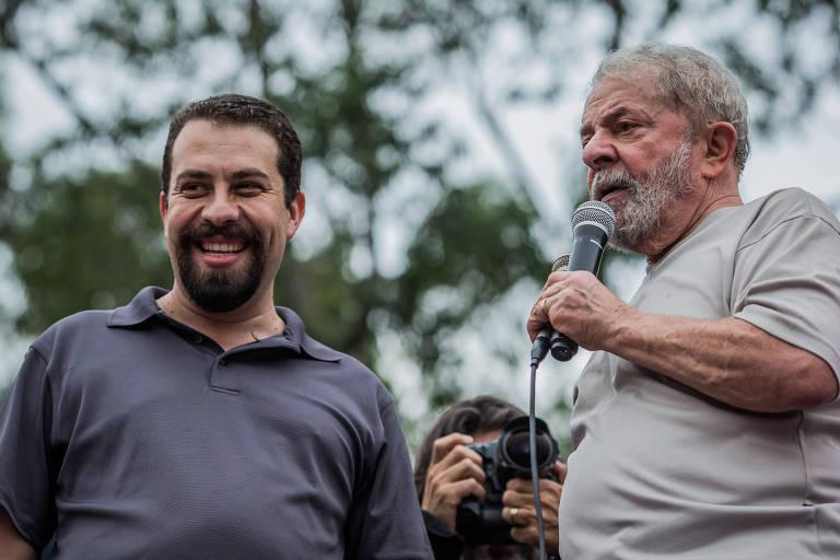 Guilherme Boulos e o ex-presidente, em São Bernardo do Campo, em 2017