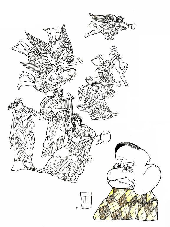 Desenho quase todo em branco e preto mostra, de forma caricatural, o poeta João Cabral de Melo Neto; destacam-se suas grandes orelhas; à esquerda, uma série de figuras, anjos, musas, que parecem habitar a imaginação do poeta; o único detalhe de cor é o suéter em padrão de losangos marrons e amarelos que ele veste