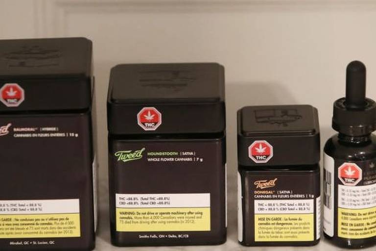 Produtos para diferentes usos de maconha. Fumo, colírio