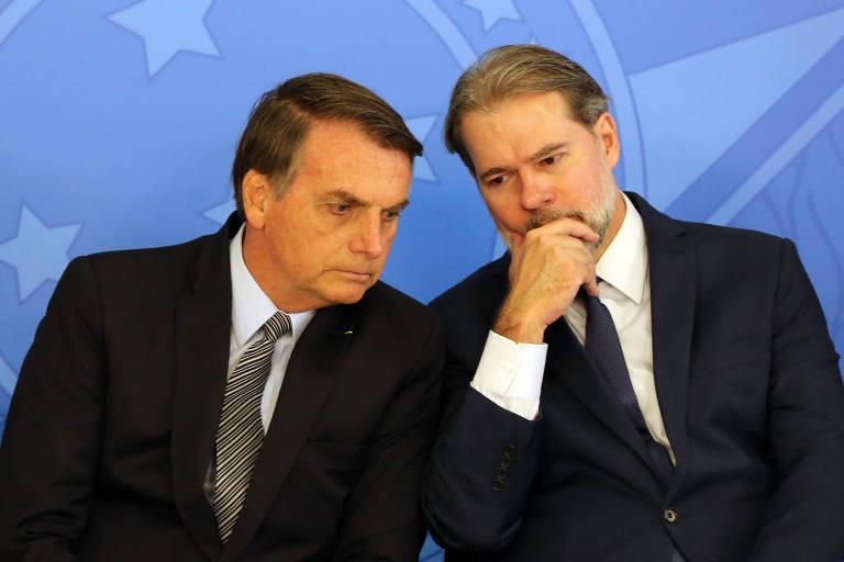O presidente Jair Bolsonaro e o ministro Dias Toffoli, presidente do Supremo