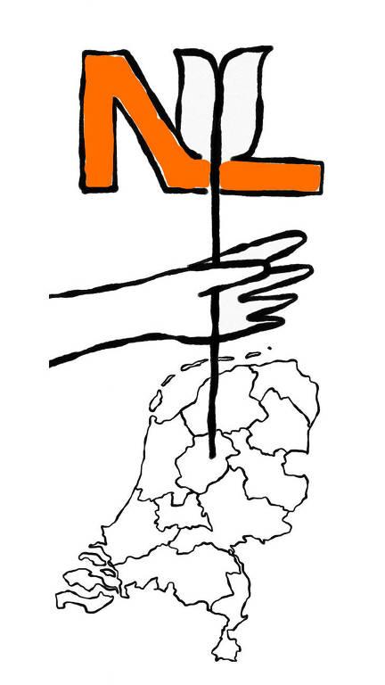 """Ilustração de mão, segurando """"NL""""numa flecha sobre mapa"""