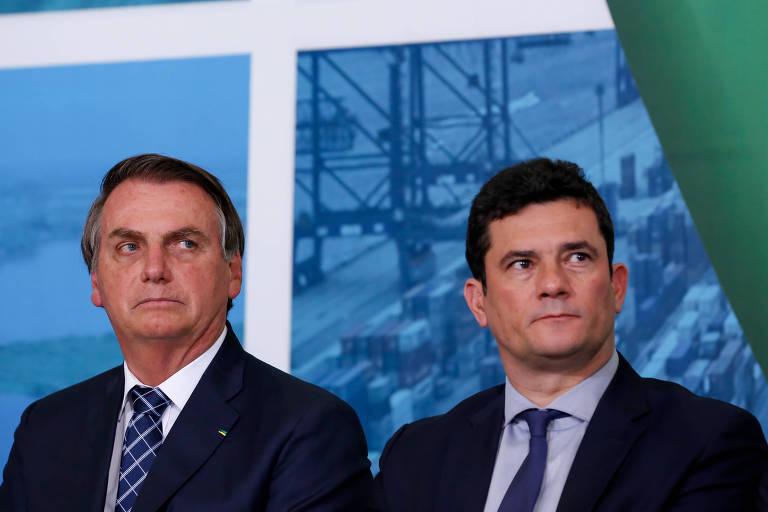 Jair Bolsonaro e Sergio Moro durante evento em dezembro de 2019
