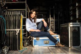 Clarissa Kiste durante as gravações da série