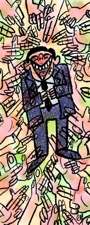 Ilustração de homem de terno rindo, no centro da imagem. A sua volta, várias mãos batem palmas.