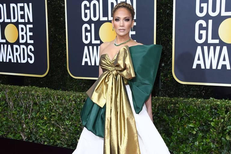 Jennifer Lopez no tapete vermelho do Globo de Ouro