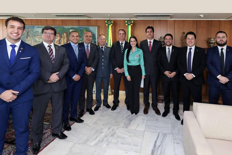 Encontro da bancada do PSL na Assembleia de SP com o presidente Jair Bolsonaro, em abril de 2019