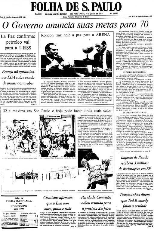 Primeira Página da Folha de 7 de janeiro de 1970