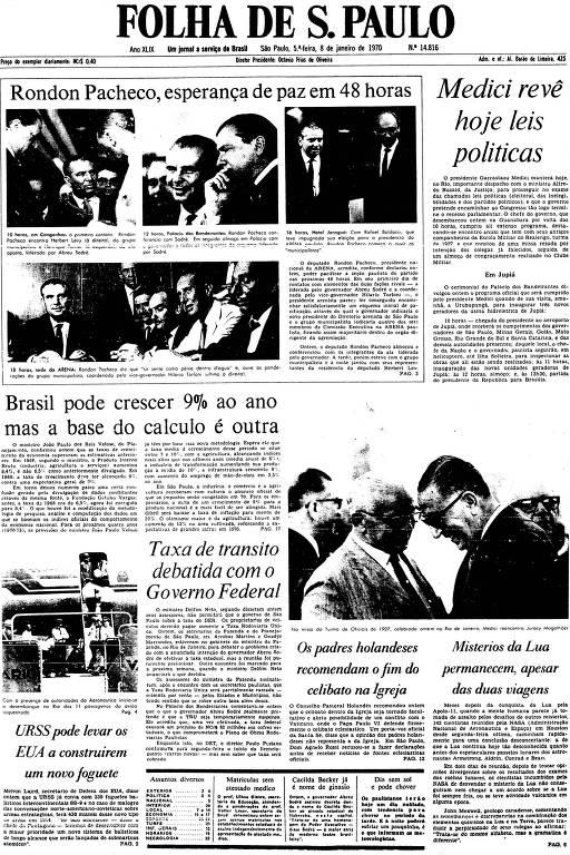 Primeira Página da Folha de 8 de janeiro de 1970