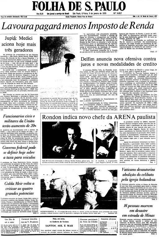 Primeira Página da Folha de 9 de janeiro de 1970