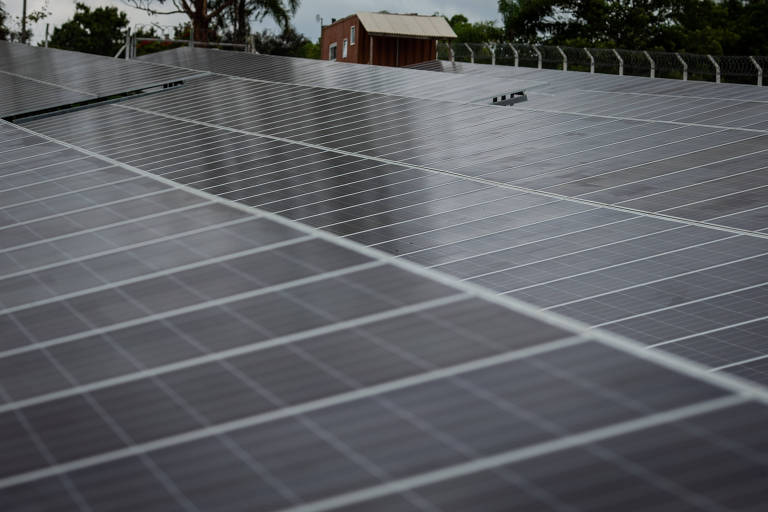 Retrato com placas de painel solar sobrepostas