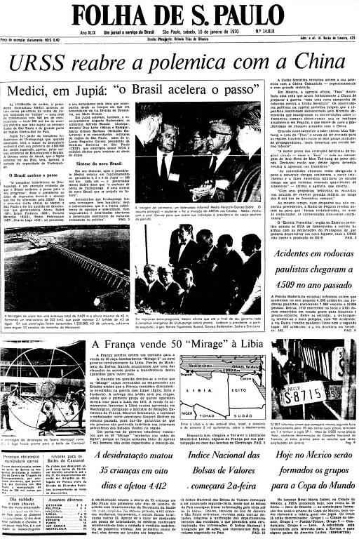 Primeira Página da Folha de 10 de janeiro de 1970