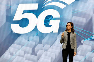 Emily Becher, senior vice president and Head of Samsung NEXT Global, speaks about 5G connectivity and urban mobility at Samsung keynote address during the 2020 CES in Las Vegas