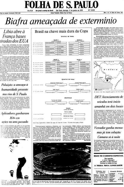 Primeira Página da Folha de 11 de janeiro de 1970