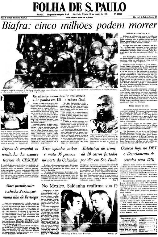 Primeira Página da Folha de 12 de janeiro de 1970
