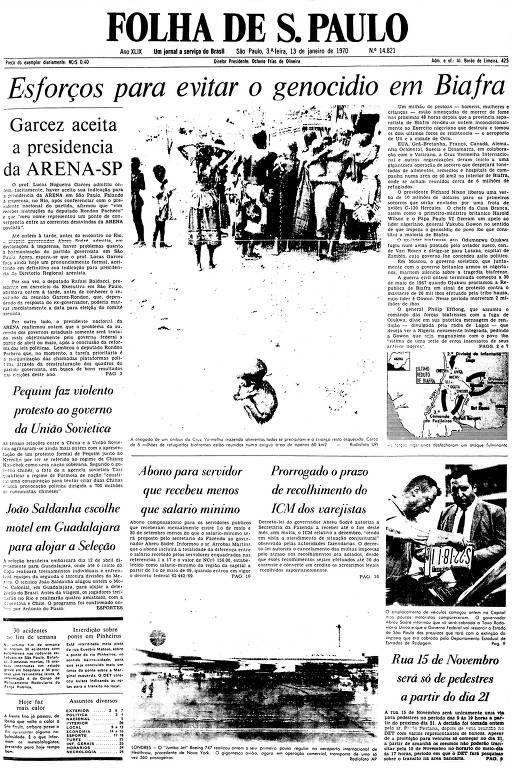 Primeira Página da Folha de 13 de janeiro de 1970