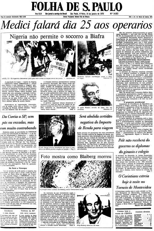 Primeira Página da Folha de 14 de janeiro de 1970