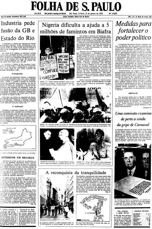 Primeira Página da Folha de 15 de janeiro de 1970