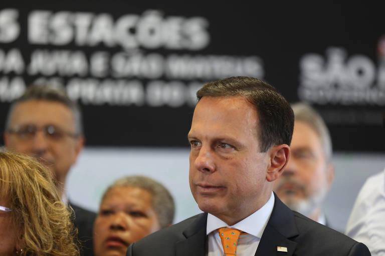 Governador Joao Doria durante a inauguração na estação São Mateus