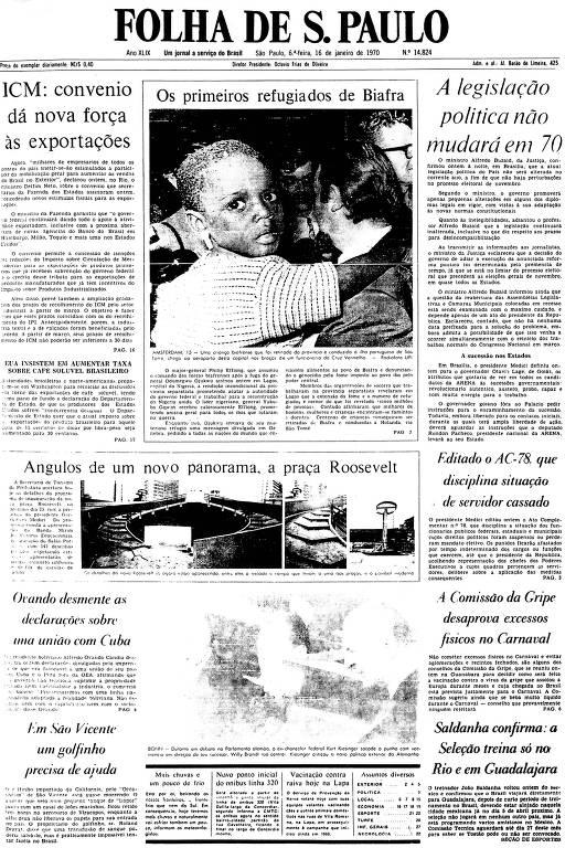 Primeira Página da Folha de 16 de janeiro de 1970
