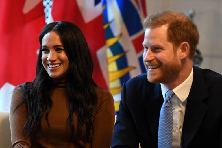 Meghan e o príncipe Harry visitam a Casa do Canadá, em Londres