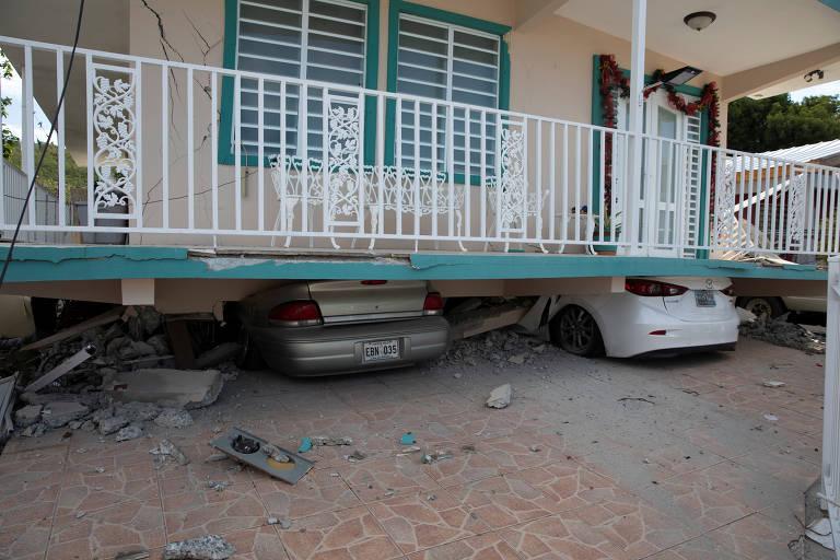 Terremoto em Porto Rico destrói casas e lojas e deixa desabrigados