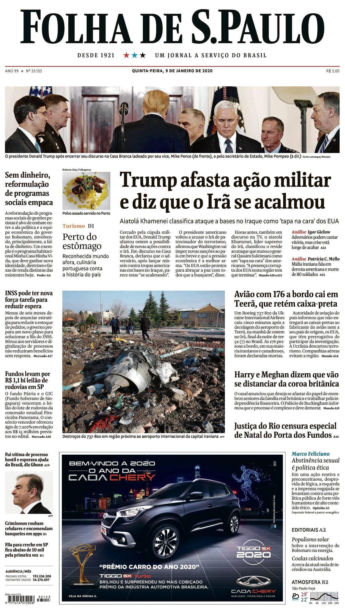 Capa da Edição Nacional da Folha