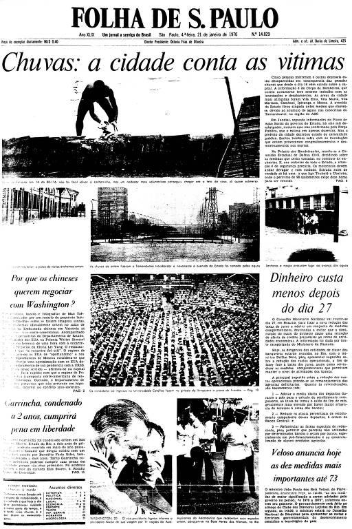 Primeira Página da Folha de 21 de janeiro de 1970