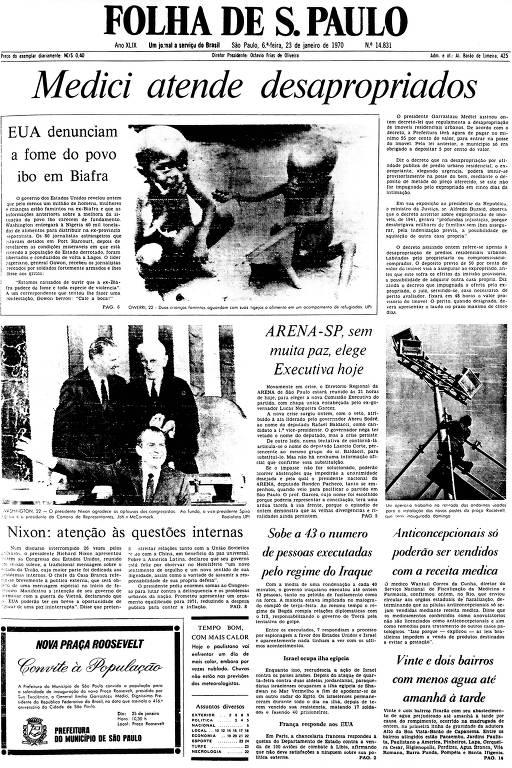 Primeira Página da Folha de 23 de janeiro de 1970