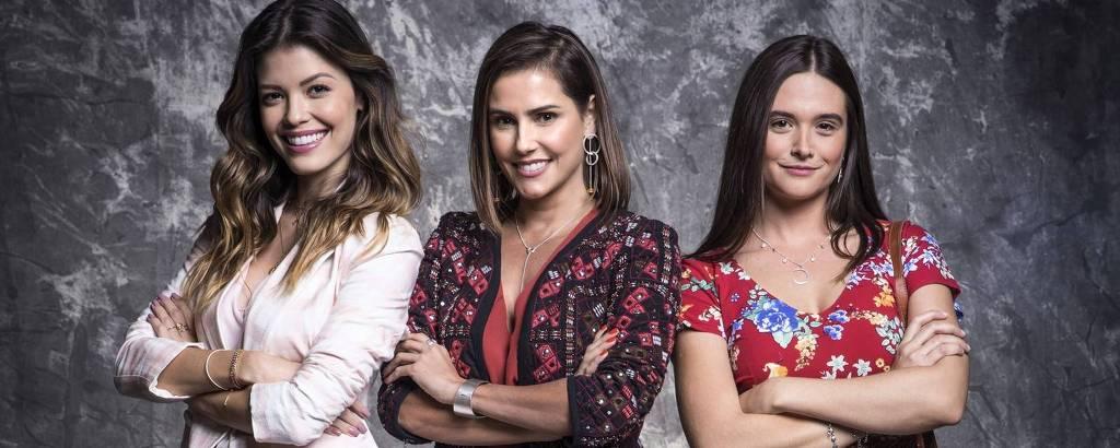 As protagonistas Kyra (Vitória Strada), Alexia (Deborah Secco) e Luna (Juliana Paiva)