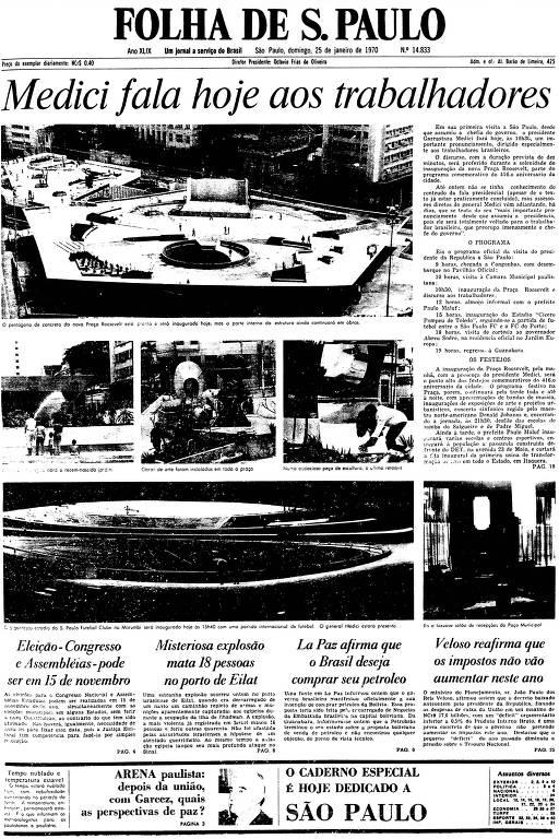 Primeira Página da Folha de 25 de janeiro de 1970