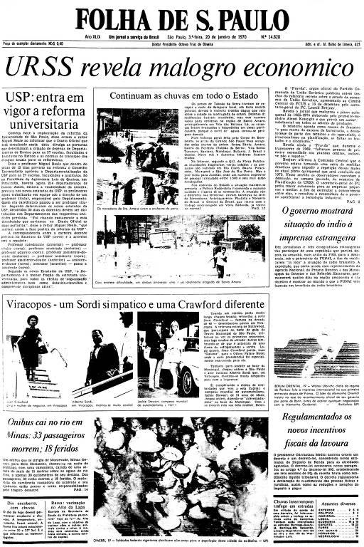 Primeira Página da Folha de 20 de janeiro de 1970